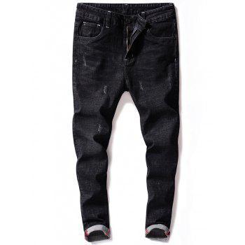 Tapered Zip Fly Maple Leaf Print Jeans - BLACK 32