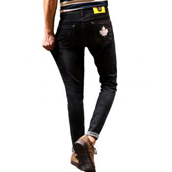 Tapered Zip Fly Maple Leaf Print Jeans - 34 34