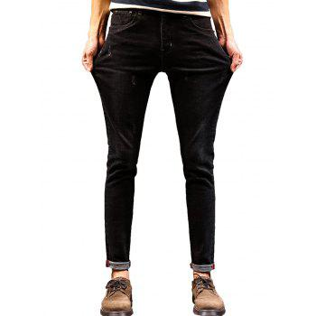 Tapered Zip Fly Maple Leaf Print Jeans - BLACK 34