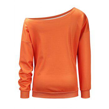 Kitten Pumpkin Halloween One Shoulder Sweatshirt - ORANGE M