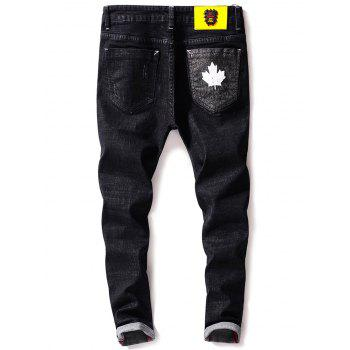 Tapered Zip Fly Maple Leaf Print Jeans - BLACK 36