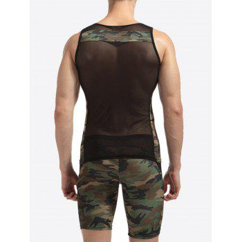 Voile Camouflage Panel Stretchy Suit ( Tank Top + Shorts ) - XL XL
