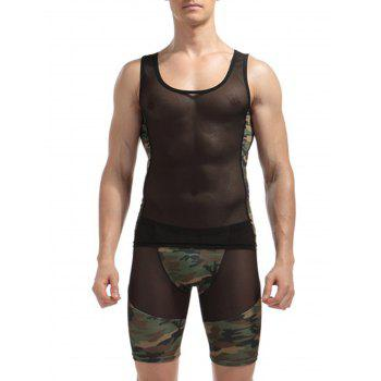 Voile Camouflage Panel Stretchy Suit ( Tank Top + Shorts ) - CAMOUFLAGE XL