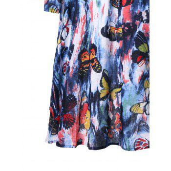 Drawstring Butterfly Printed Long Sleeve Dress - M M