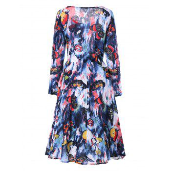 Drawstring Butterfly Printed Long Sleeve Dress - COLORMIX L