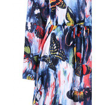 Drawstring Butterfly Printed Long Sleeve Dress - COLORMIX COLORMIX