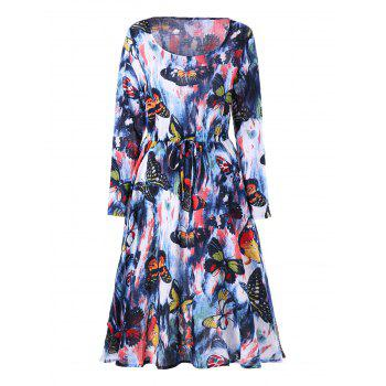 Drawstring Butterfly Printed Long Sleeve Dress - COLORMIX 2XL