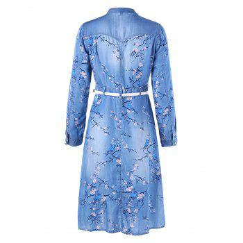 Plum Blossom Print Denim Dress with Belt - Bleu M