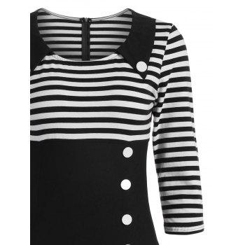 Striped Button Embellished Vintage A Line Dress - BLACK L