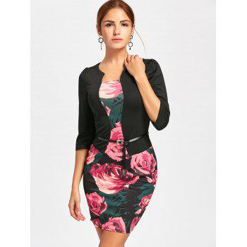 Rose Printed Faux Two-piece Bodycon Dress - S S