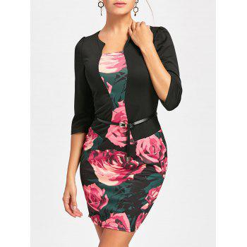 Rose Printed Faux Two-piece Bodycon Dress - BLACK S