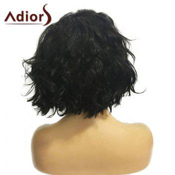 Adiors Center Parting Fluffy Short Wavy Bob Synthetic Wig -  NATURAL BLACK
