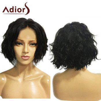 Adiors Center Parting Fluffy Short Wavy Bob Synthetic Wig - NATURAL BLACK NATURAL BLACK