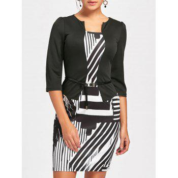 Geometric Printed Bodycon Faux Two-piece Dress - WHITE AND BLACK S