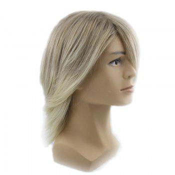 Adiors Side Bang Colormix Men Short Straight Synthetic Wig - FLAX