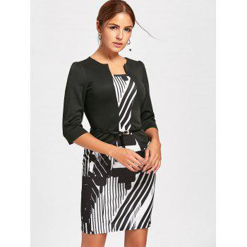 Geometric Printed Bodycon Faux Two-piece Dress - WHITE/BLACK M