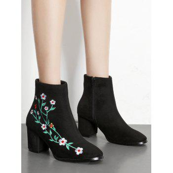 Embroidery Floral Chunky Ankle Boots - BLACK 35