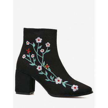 Embroidery Floral Chunky Ankle Boots - BLACK 36