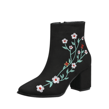 Embroidery Floral Chunky Ankle Boots - BLACK 37