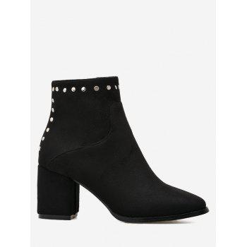 Chunky Heel Rivet Pointed Toe Ankle Boots - BLACK 35