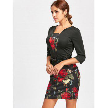 Flower Print Bodycon Faux Two-piece Dress - BLACK S