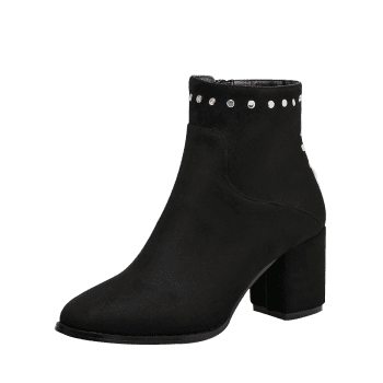 Chunky Heel Rivet Pointed Toe Ankle Boots - BLACK 39
