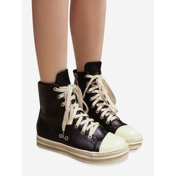 PU Leather Eyelet Ankle Boots - BLACK 35