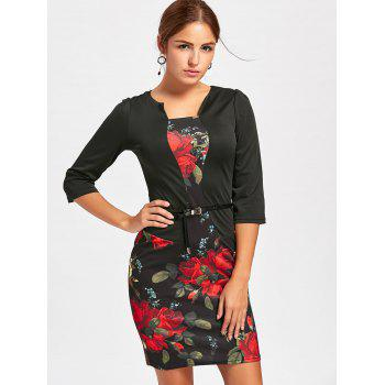Flower Print Bodycon Faux Two-piece Dress - BLACK XL