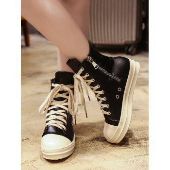 PU Leather Eyelet Ankle Boots - BLACK 37