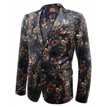 Allover Printed Lapel Casual Velvet Blazer - COLORMIX 50