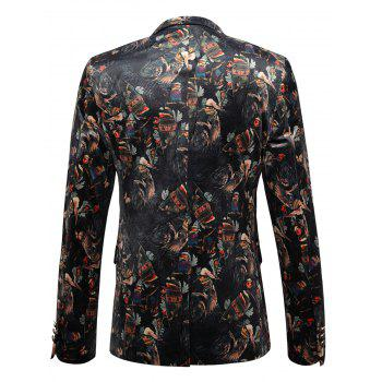 Allover Printed Lapel Casual Velvet Blazer - COLORMIX 54