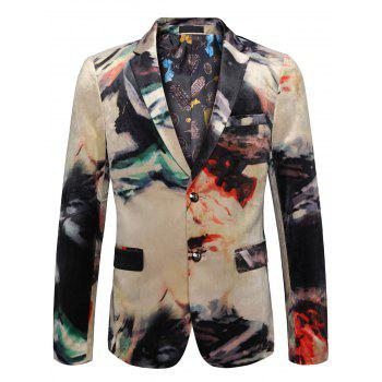 Single Breasted Tie Dye Casual Velvet Blazer - COLORMIX 58