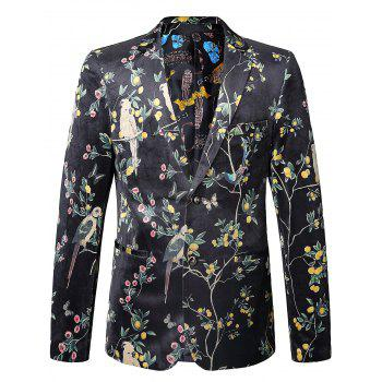 Floral Birds in the Trees Print Velvet Blazer - COLORMIX 54