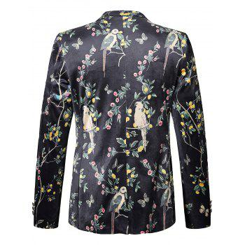 Floral Birds in the Trees Print Velvet Blazer - multicolorcolore 56
