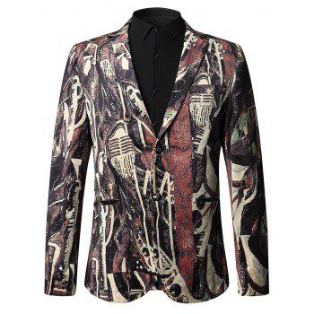 Two Button Oil Painted Velour Blazer - COLORMIX 52