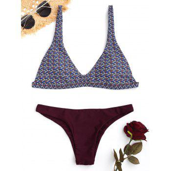 Contrast Tribal Print Bikini Set - COLORMIX S