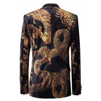Two Button Dragon Printed Velvet Blazer - COLORMIX COLORMIX