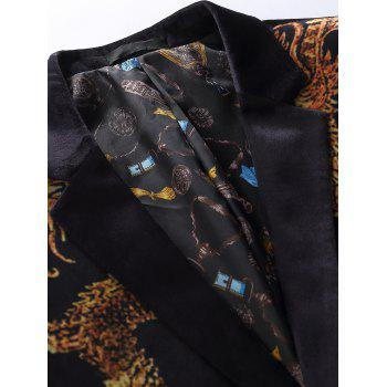 Two Button Dragon Printed Velvet Blazer - COLORMIX 56