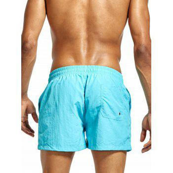 Drawstring Mesh Lining Fitness Shorts - CLOUDY M