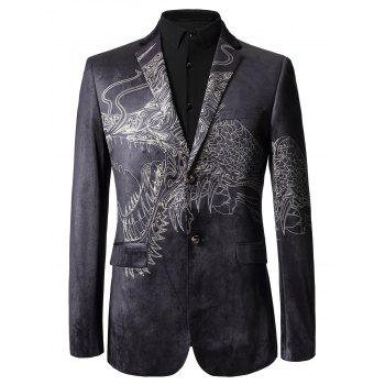 Single Breasted Totem Print Velvet Blazer - COLORMIX 52