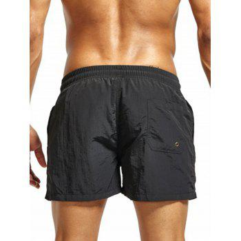 Drawstring Mesh Lining Fitness Shorts - BLACK M