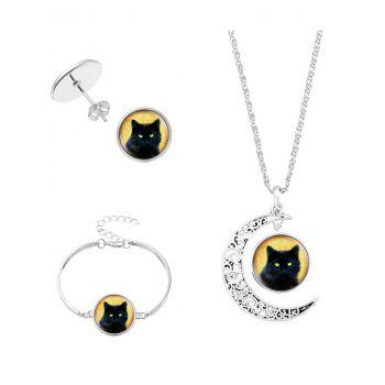 Halloween Cat Moon Necklace Bracelet and Earrings - SILVER SILVER