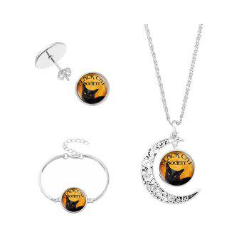 Halloween Society Cat Moon Jewelry Set - SILVER SILVER