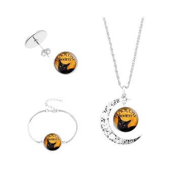Halloween Society Cat Moon Jewelry Set -  SILVER