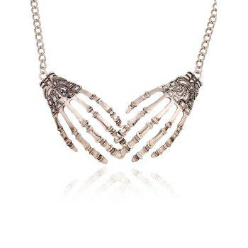 Halloween Punk Metal Skeleton Hand Necklace -  SILVER