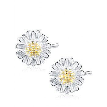 Sterling Silver Flower Tiny Stud Earrings - SILVER SILVER