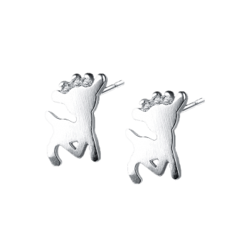 Christmas Rhinestone Tiny Reindeer Stud Earrings - SILVER