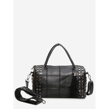 Stud Tassel Quilted Tote Bag - BLACK BLACK