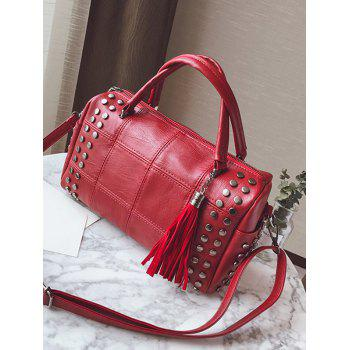 Stud Tassel Quilted Tote Bag - RED