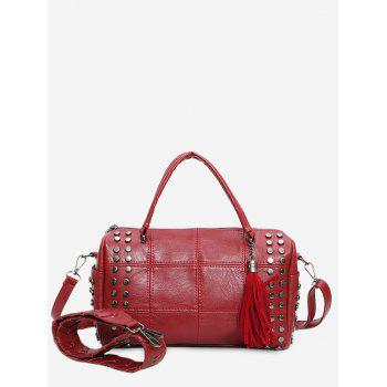 Stud Tassel Quilted Tote Bag - RED RED